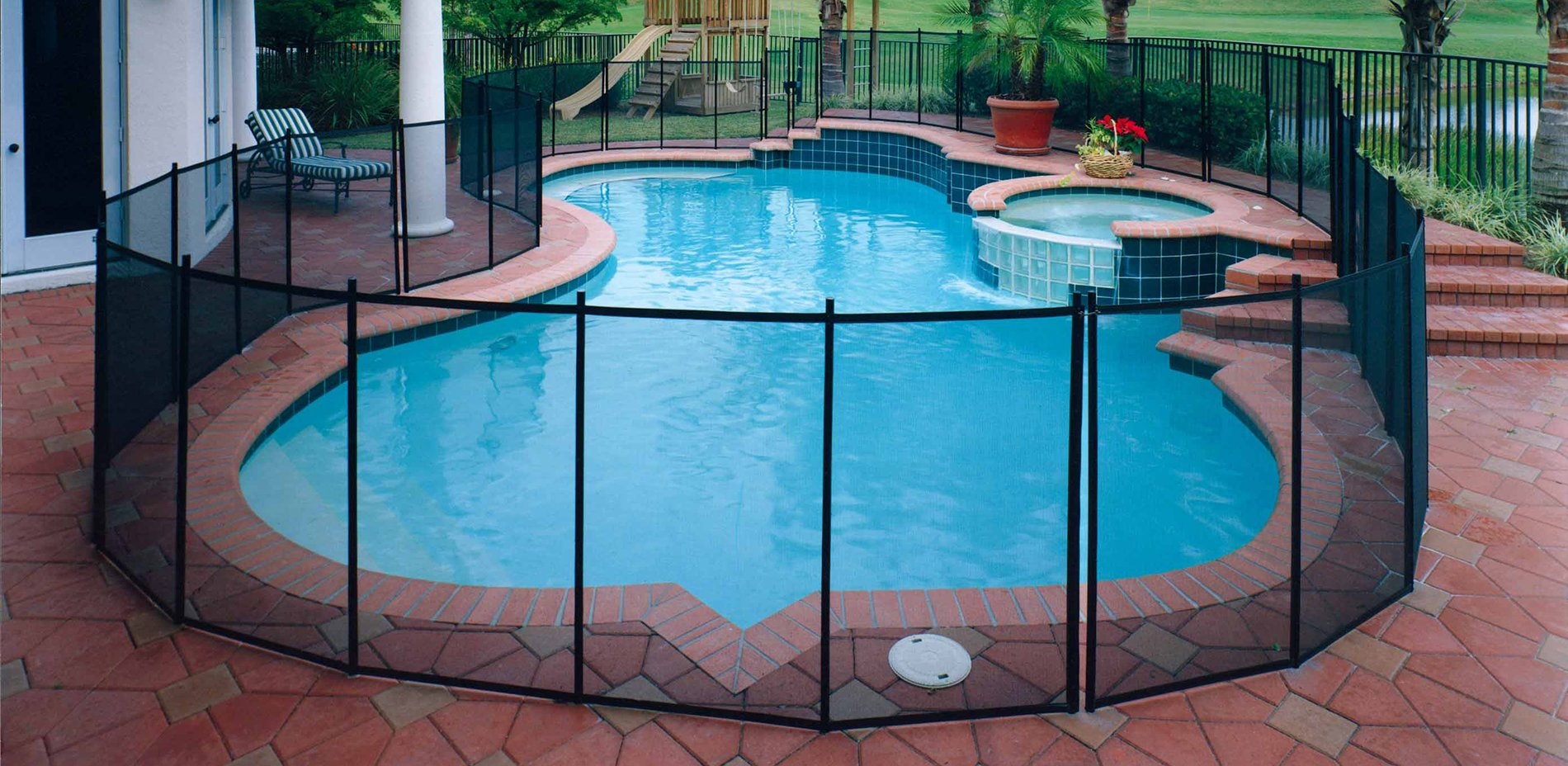 Pool fencing life saver pool fence systems for Above ground pool gate ideas